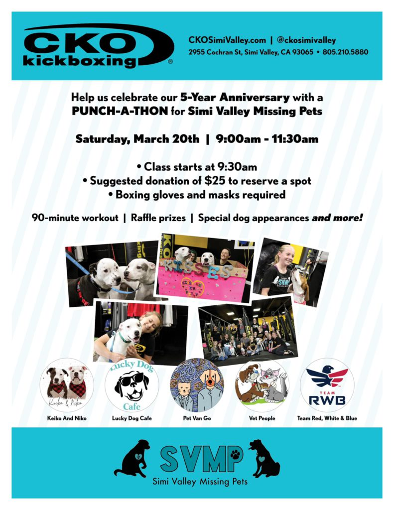 Simi Valley Lost Pets Punch-A-Thon Flyer