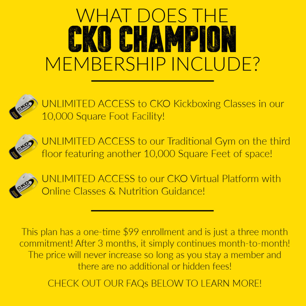 Image describes what is included in the CKO Champion Special